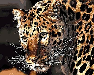 Framed Painting by Number kit Leopard In The Forest Tiger Wild Animal DIY BB7603