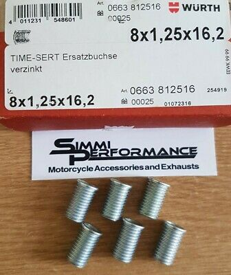 6 x WURTH M8 x 1.25 TIME SERT INSERTS  16.2mm length   - for Thread Repair