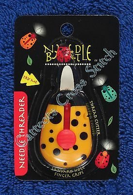 Needle Beetle LED Light Wire Needle Threader Thread Cutter Yellow Cross Stitch