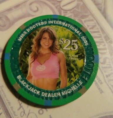 2006 Hooters Casino $25 chip Miss Hooters International Michelle calender girl
