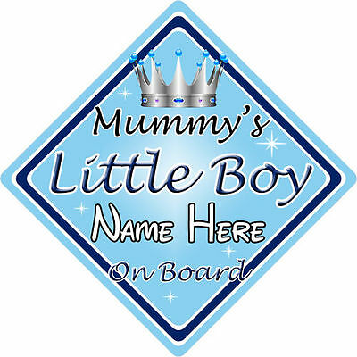 Personalised Child//Baby On Board Car Sign ~ Little Boys On Board ~ D.Blue