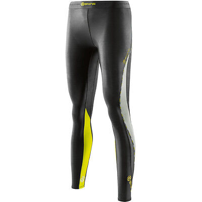 SKINS DNAmic Womens Compression Long Tights Running Exercise Jogging Limoncello