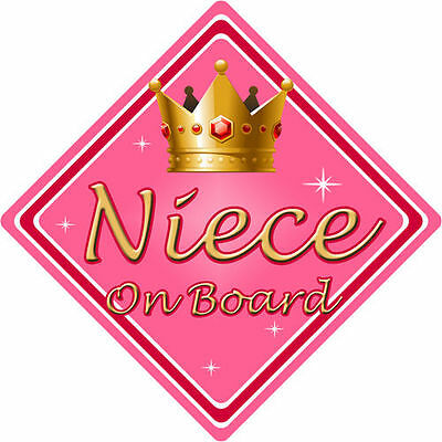 Non Personalised Child/Baby On Board Car Sign ~ Niece On Board ~ Pink