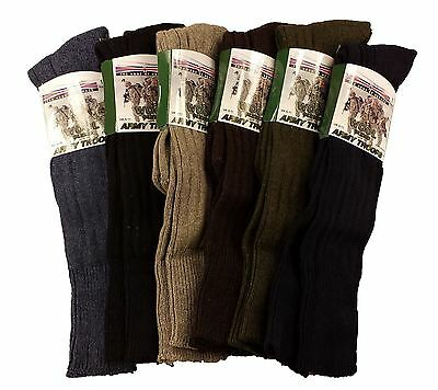 3 Pairs Of Men's Army Socks, Long Knee High Thermal Military Socks, Size 6-11