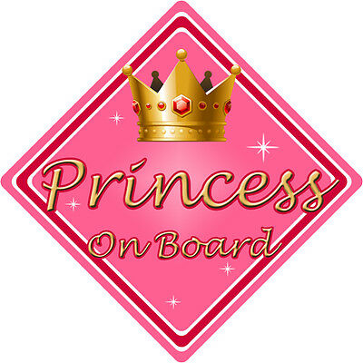 Non Personalised Child/Baby On Board Car Sign ~ Princess On Board ~ Pink