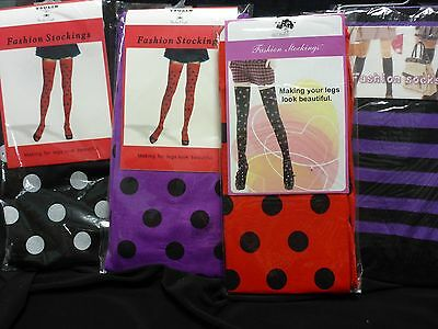Punk Gothic Fashion Stockings Stay ups bold colours with spots women's / girls