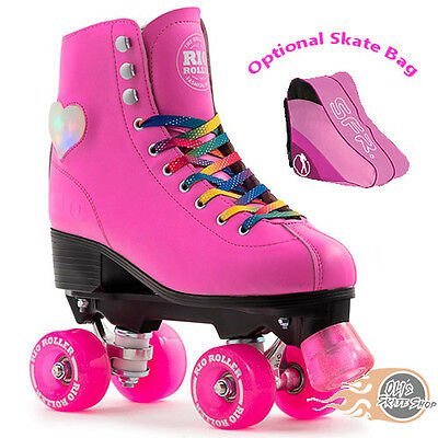 Rio Roller Figure Lights Quad Roller Skates Light Up Pink - Optional Skate Bag