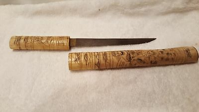 Chinese carved bone tanto dagger knife