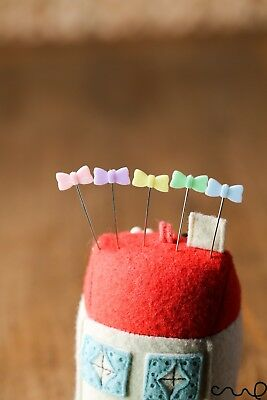 40 x Pastel Bow Sewing Pins  Patchwork Pins DIY Quilting Tool Sewing Accessories