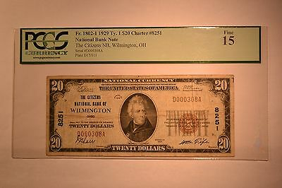 Wilmington, OH - $20 1929 Ty. 1 The Citizens NB Ch. # 8251. PCGS Fine 15