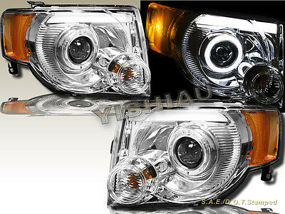 08-12 Ford Escape Utility DRL Strip LED Halo Projector Chrome Headlights