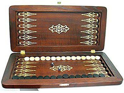 "Portable Size Handmade Solid Wooden Backgammon Set Board Game ""Orion"""