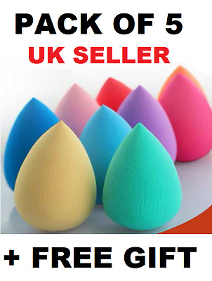 5 x Beauty Foundation Make up blending Makeup Sponge blender Buffer Puff + GIFT