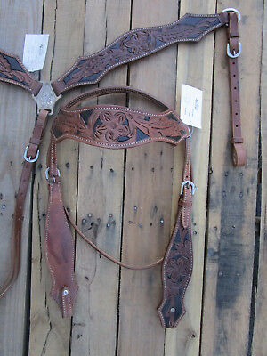Western Headstall Breastcollar Set Floral Tooled Show Leather Show Horse Bridle
