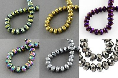 100 pcs RONDELLE FACETED GLASS CRYSTAL BEADS 6 mm Colour Plated Jewellery Making