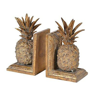 Pair Of Golden Pineapple Bookends With Distressed Finish Art Deco H: 20cm