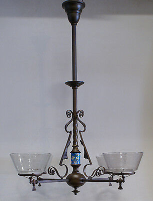 4-arm Aesthetic Gas Fixture Longwy Chandelier Shade 1880's