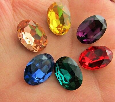 3 pcs 18mmx13mm Faceted Oval Glass Pointed Back Rhinestone Cabochons Back Plated