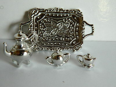 (Kp4) Dolls House Silver Coloured Metal Coffee Set