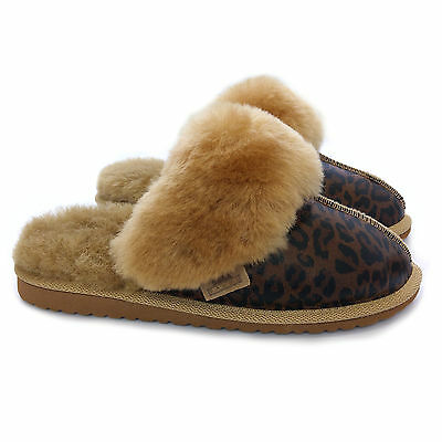 73a536e10e5 NEW LADIES PREMIUM 100% Pure Twinface Sheepskin Leopard Mules Slippers EVA  Sole