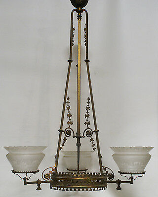 3-arm Thackara Aesthetic Gas Fixture Chandelier Shade 1880's