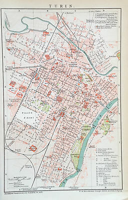 1897 TURIN alter Stadtplan antique city map Lithographie Italien Italy