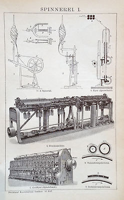 1897 SPINNEREI I. II. Original Alter Druck Antique Print Lithographie