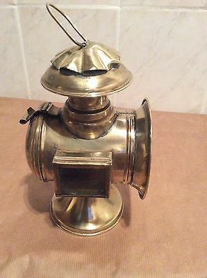 Antique Solid Brass Coach Lantern Light With Red & White Panes