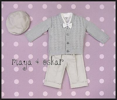 Baby Boy Christening Baptism Birthday Smart Suit Outfit Wedding Grey 3 6 12 18M