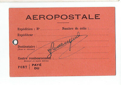 FRENCH AVIATOR JEAN MACAIGNE SIGNED AEROPOSTALE BAG TAG-AIR FRANCE PIONEER 1930s