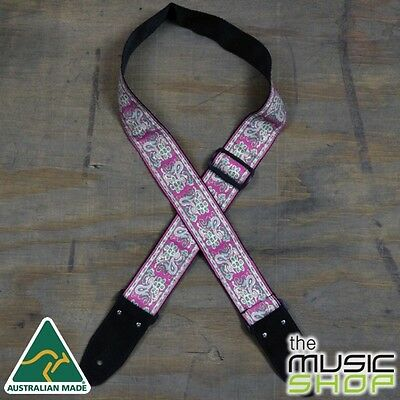 New Colonial Leather Pale Pink Jacquard Webbing Guitar Strap - Australian Made
