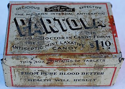 Partola Laxative Candy Tin-72 Tablet $1.10-Circa 1930-Empty-Free Usa Shipping
