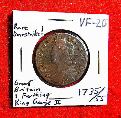 GREAT BRITAIN (England/UK) KING GEORGE II 1 FARTHING 1735/55 ~ ONLY One on Ebay!