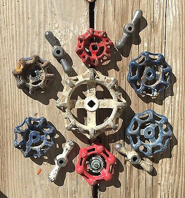 11 Vintage Valve Handles Metal Water Faucet Knobs STEAMPUNK Industrial Art Mixed