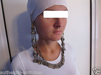 Gorgeous Antique Silver Ottoman Folklore Earrings+Necklace+Coins 19th C. - RARE • CAD $288.16