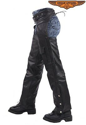 Mens Motorbike Motorcycle Black Leather Braided Chaps Zipper Runs Along Side New