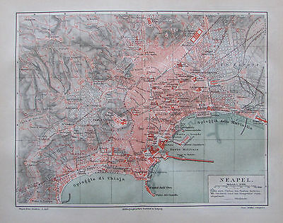 1888 NEAPEL und UMGEBUNG Napoli original 2 antike Stadtkarten old city map