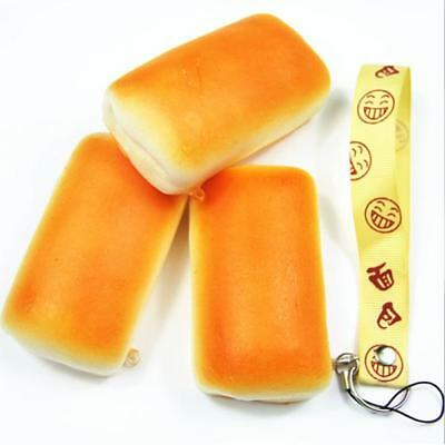 Yellow Jumbo Squishy Bread Soft Buns Scented Phone Strap Charms Slow Rising - SS