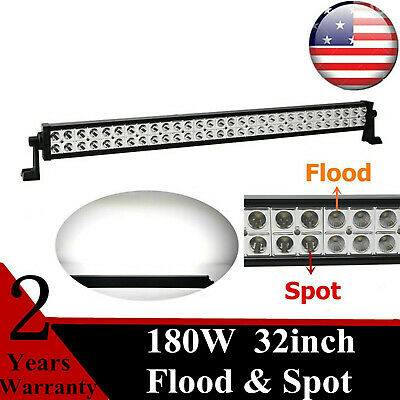 """32""""IN 180W Led Working Tralier Light Bar Driving Light For Jeep Offroad 4X4WD 50"""