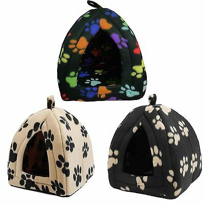 Fleece Igloo Pet Cat Dog Bed House With Black Beige Multi Paw Design New