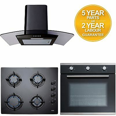 SIA 60cm Black Gas Hob, Single Electric Oven & 60cm Black Cooker Hood Extractor