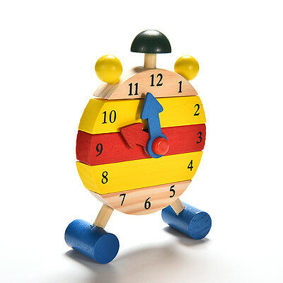 Baby Blocks Early Learning Building Children Educational Wooden Toy Clock GT