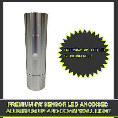 2X 10W SENSOR LED ANODISED Aluminum 2 Light Up & Down Wall Outdoor Light