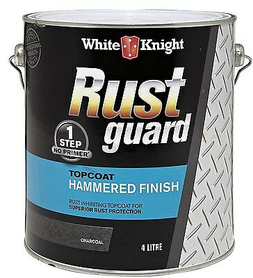 White Knight Rust Guard Topcoat Enamel Paint 4L Hammered Finish CHARCOAL