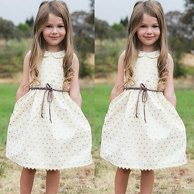 Baby Kids Girls Sleeveless Princess Dress Party Pageant Dresses With Waistband