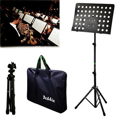 Debbie Foldable Metal Adjustable Music Sheet Stand Holder & Carry Tote Case Bag