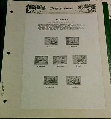 1972-73 Christmas Island Seven Seas Album Page Ship Definitive 3 Pages No Stamps