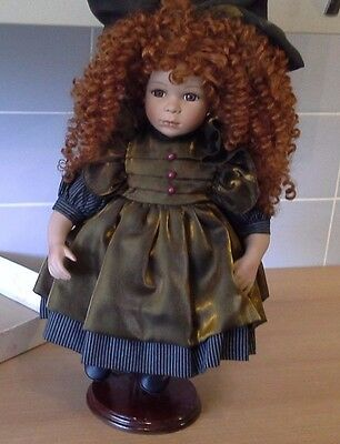 Hanah Collectable Porcelain Doll Veronique Curly Red Hair Ornate Vintage Dress