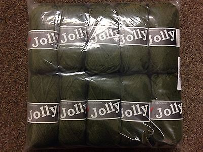 JOB LOT Mega Pack of 10 Jolly Knitting Acrylic YARN Balls, 50g, GREEN