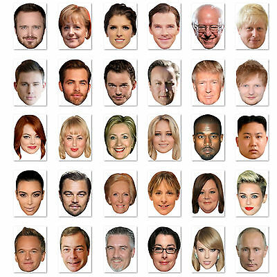 Budget Range #4 - Ready To Wear Celebrity Face Masks - 30 To Choose - Low Price!